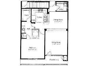 879 sq. ft. A5 floor plan