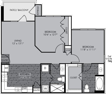 980 sq. ft. B1 floor plan