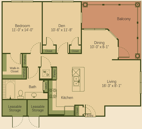 975 sq. ft. 1AD floor plan