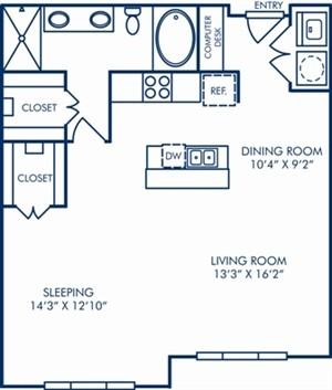 906 sq. ft. A6A floor plan