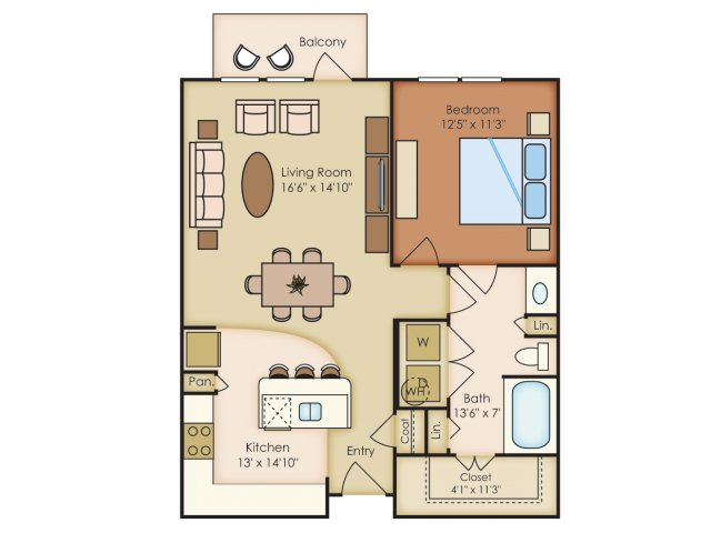 830 sq. ft. A2A floor plan
