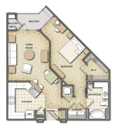 786 sq. ft. A3.1 floor plan
