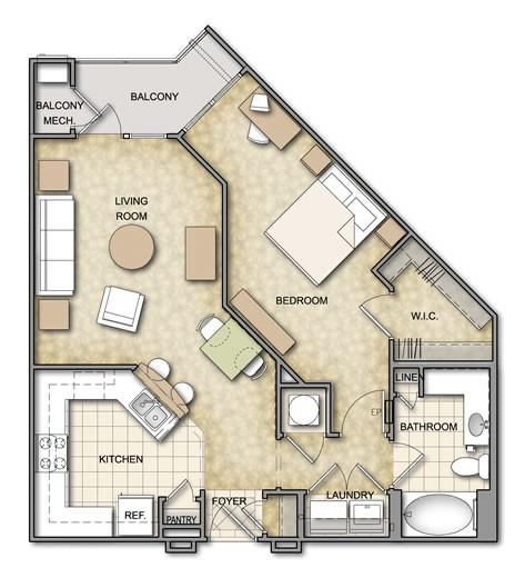 786 sq. ft. A3.1 floor plan