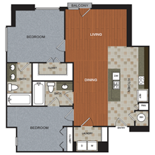 1,238 sq. ft. B3 floor plan