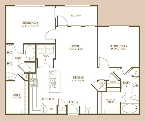 1,152 sq. ft. B4 floor plan