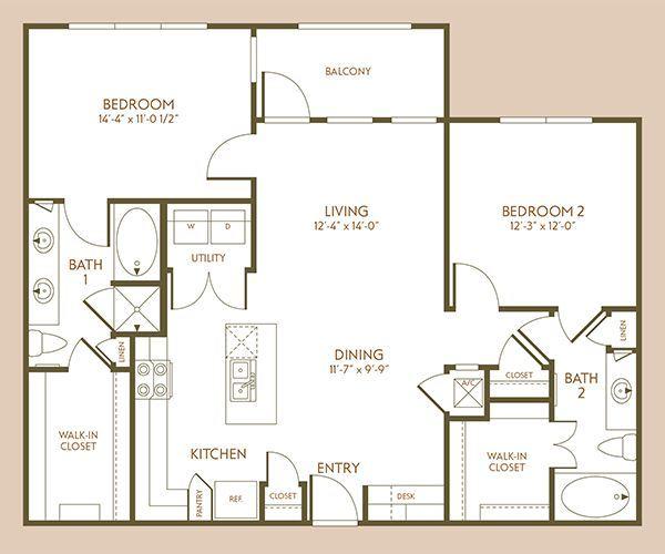 1,152 sq. ft. B4 floor plan