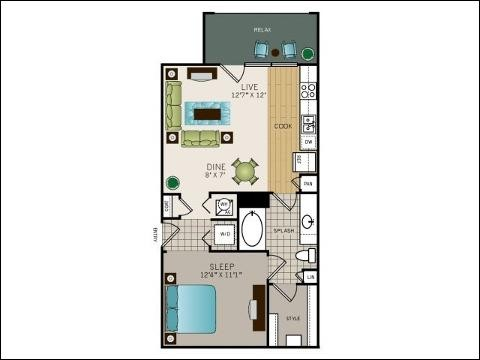 646 sq. ft. E1M floor plan