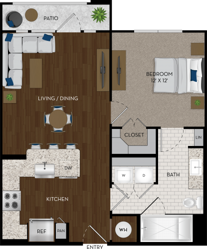 702 sq. ft. A1A floor plan