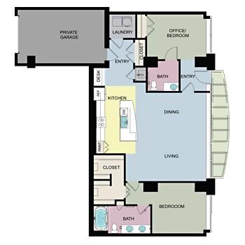 1,558 sq. ft. L/W2 floor plan