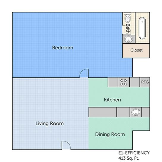 413 sq. ft. E1 floor plan