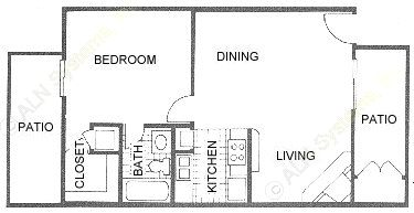620 sq. ft. B2 floor plan