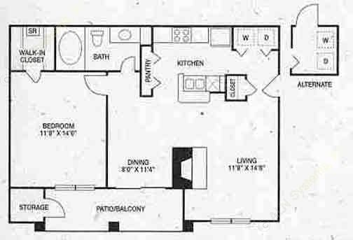 740 sq. ft. A2 floor plan