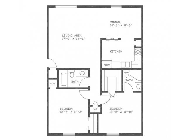1,015 sq. ft. Cedar floor plan