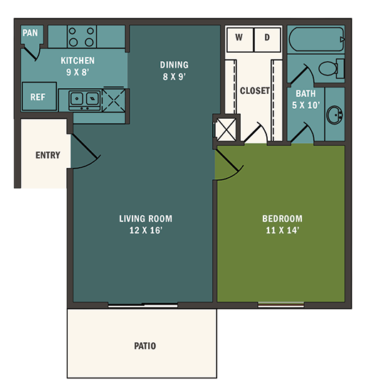 632 sq. ft. A2 floor plan
