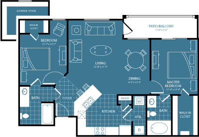 608 sq. ft. 2nd/3rd Flr Wood View floor plan