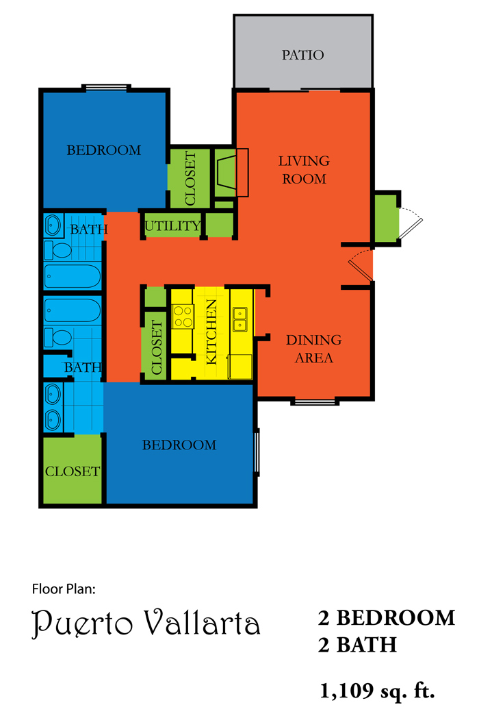 1,109 sq. ft. PUERTA VALLARTA floor plan