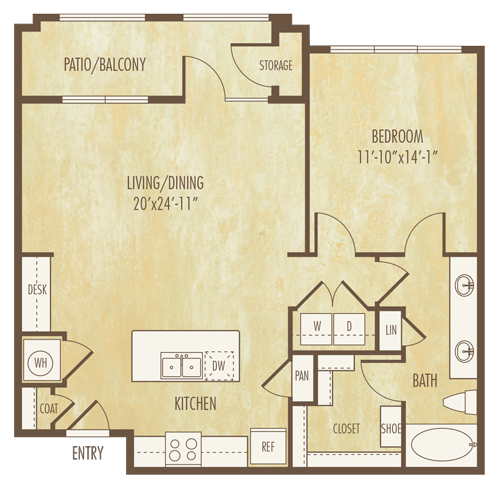 904 sq. ft. A4B floor plan