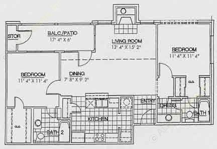 981 sq. ft. B2 floor plan