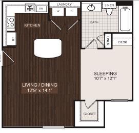 524 sq. ft. S2 floor plan