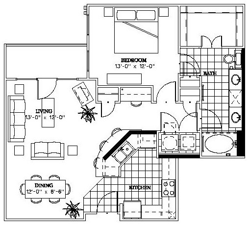 879 sq. ft. Griffin floor plan