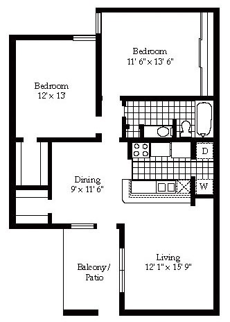 958 sq. ft. B11 floor plan