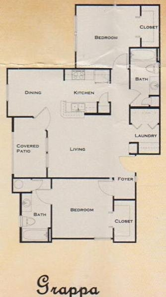 957 sq. ft. 60% floor plan