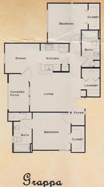 957 sq. ft. 60% floor plan