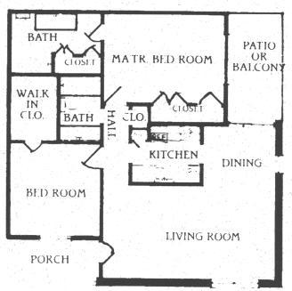 1,024 sq. ft. B-3 floor plan