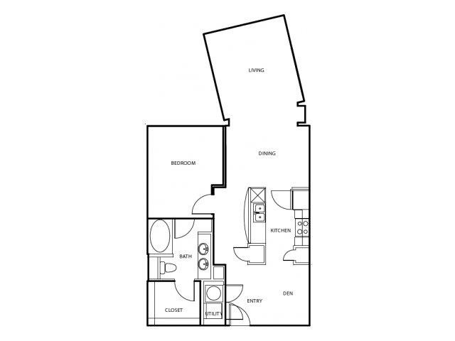 889 sq. ft. A5-E floor plan
