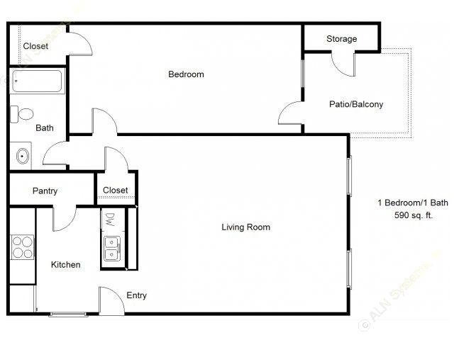 590 sq. ft. 60% floor plan