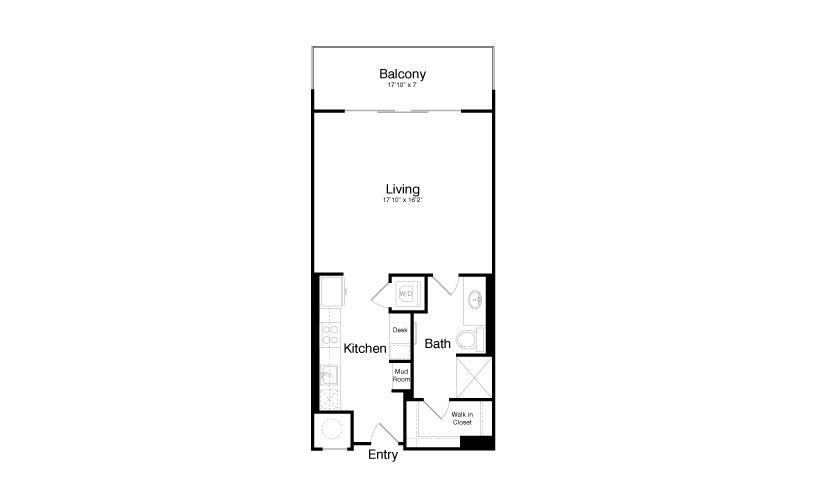 644 sq. ft. E3 floor plan