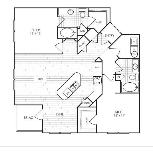 1,153 sq. ft. B3 floor plan