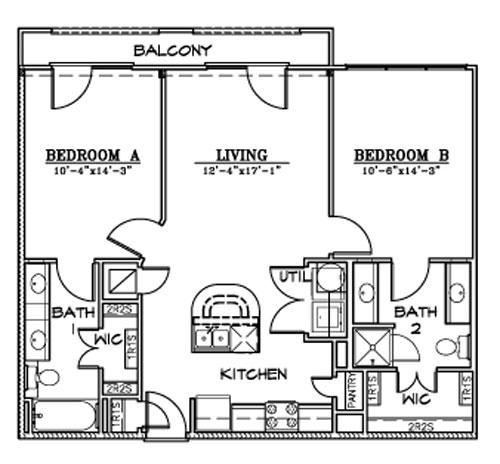965 sq. ft. B7F floor plan