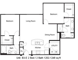 1,202 sq. ft. to 1,248 sq. ft. B3-E floor plan