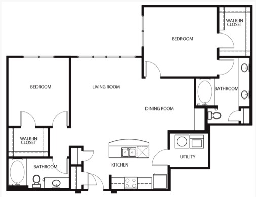1,279 sq. ft. to 1,358 sq. ft. B2 floor plan