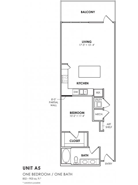 852 sq. ft. A5 floor plan