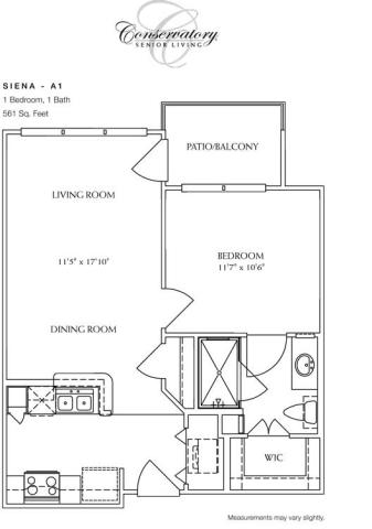 561 sq. ft. Siena floor plan