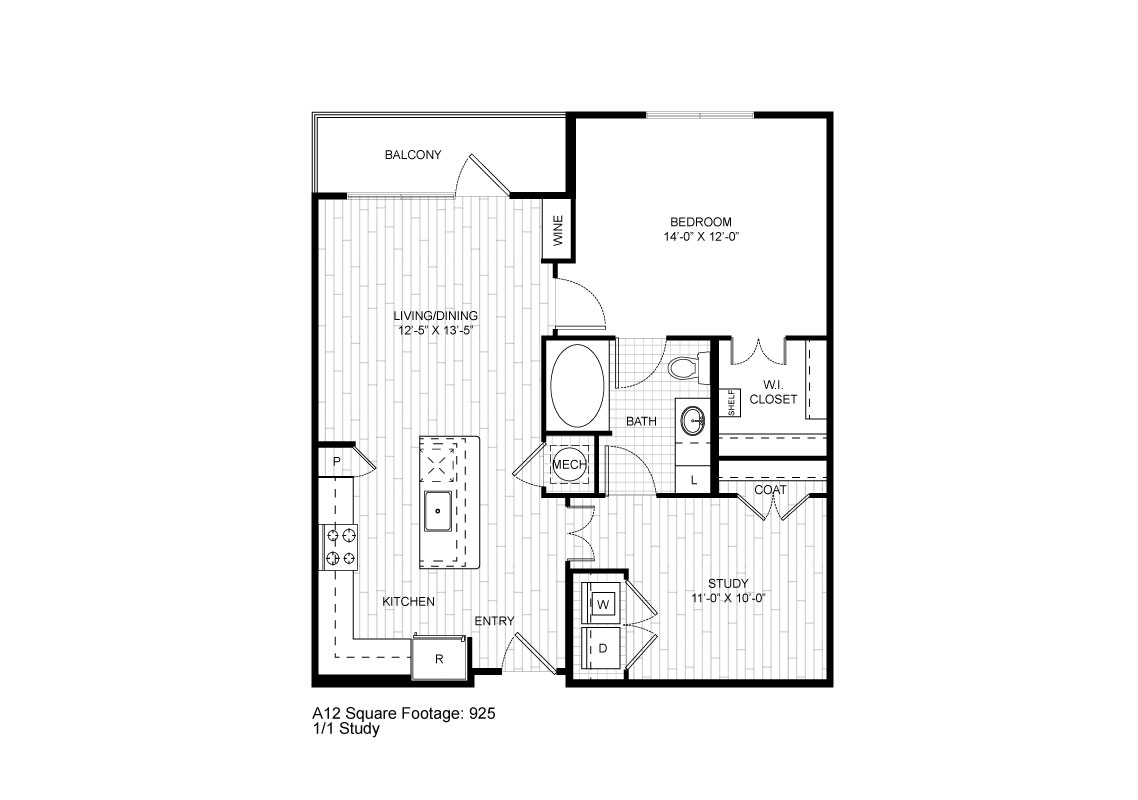 925 sq. ft. A12 floor plan