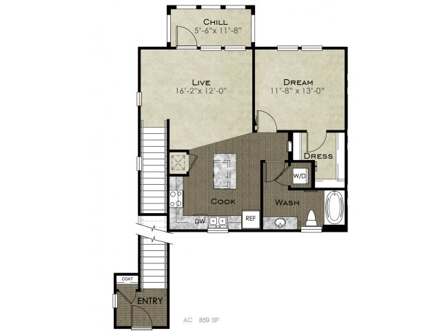 859 sq. ft. Scholz floor plan