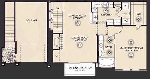 929 sq. ft. A3 floor plan