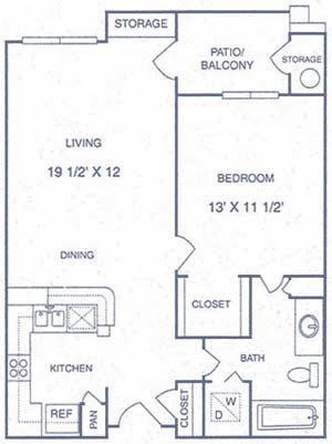 663 sq. ft. AP floor plan