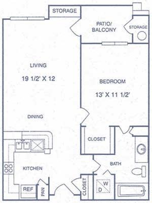 663 sq. ft. AP floor plan