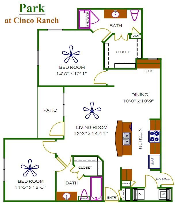 1,112 sq. ft. Chesterfield floor plan