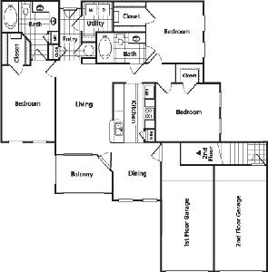 1,381 sq. ft. FG1 floor plan