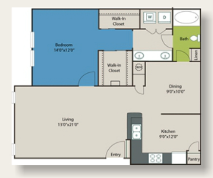941 sq. ft. B3 floor plan