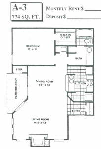 774 sq. ft. A3 floor plan