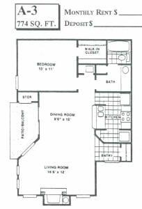 774 sq. ft. A3 floor plan