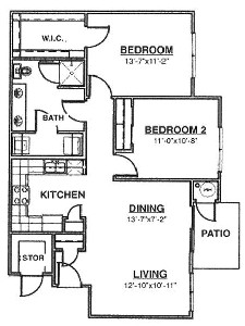 969 sq. ft. Ph II Mkt floor plan