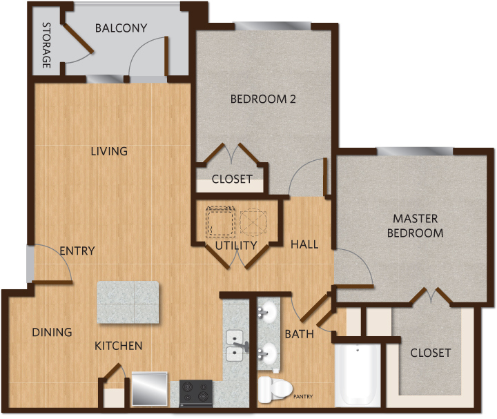 928 sq. ft. B1 floor plan
