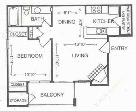 600 sq. ft. 1B floor plan